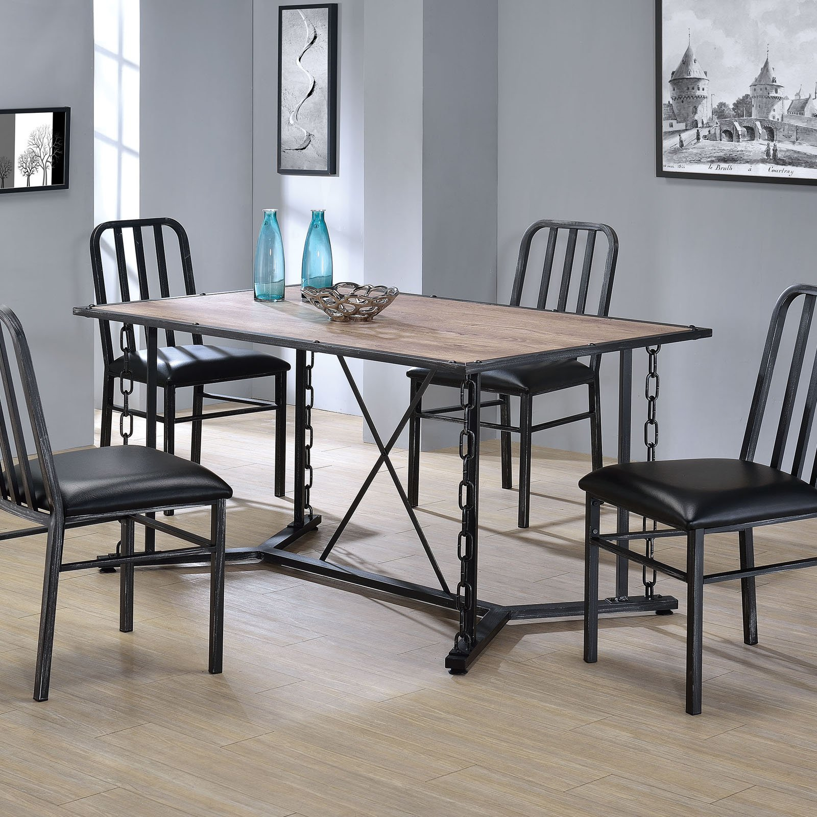 ACME Jodie Dining Table, Rustic Oak and Antique Black