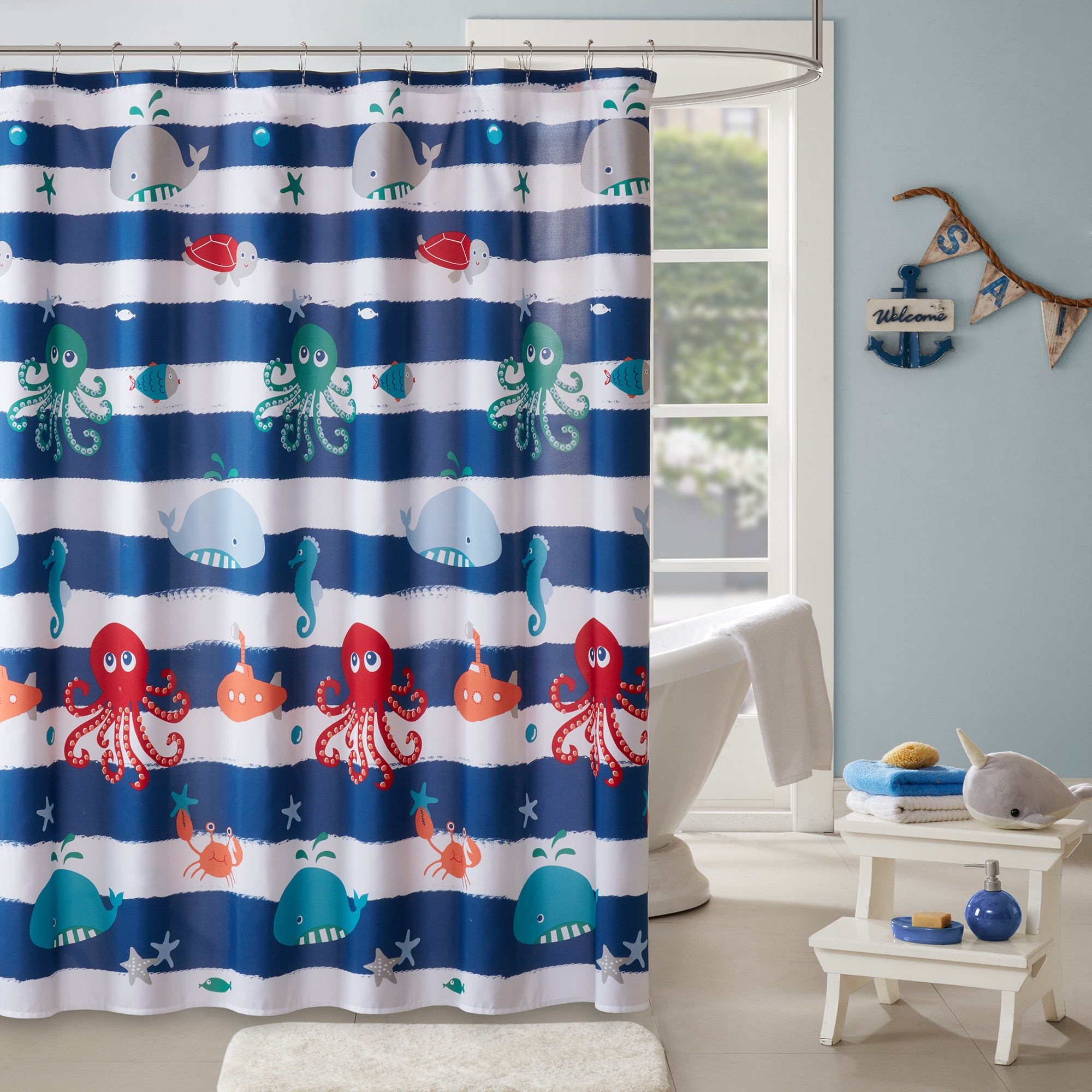 Home Essence Kids Walter the Whale Printed Shower Curtain by E&E Co.Ltd