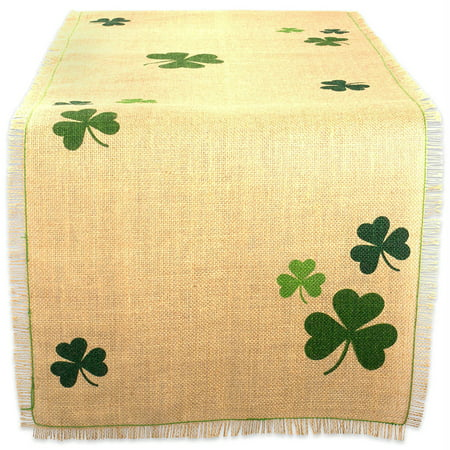 DII Shamrock Printed Jute Kitchen Table Runner, 74