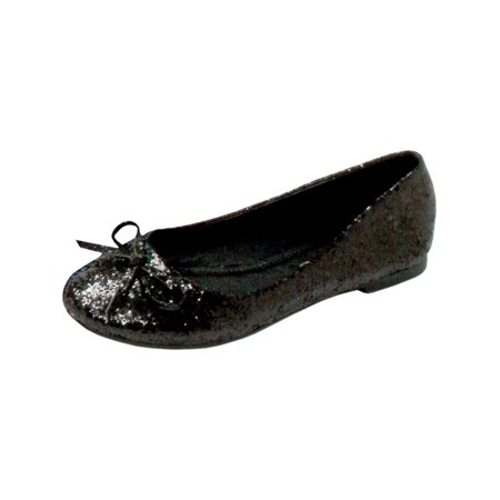 Gold Ballet Flats Toddler (Glitter Ballet Flats With String Bow Great For Costumes Womens)