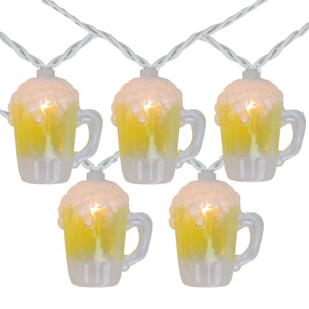 Oktoberfest Plastic Beer Mugs (10-Count Beer Mug Shaped Summer String Light Set, 7.25ft White)