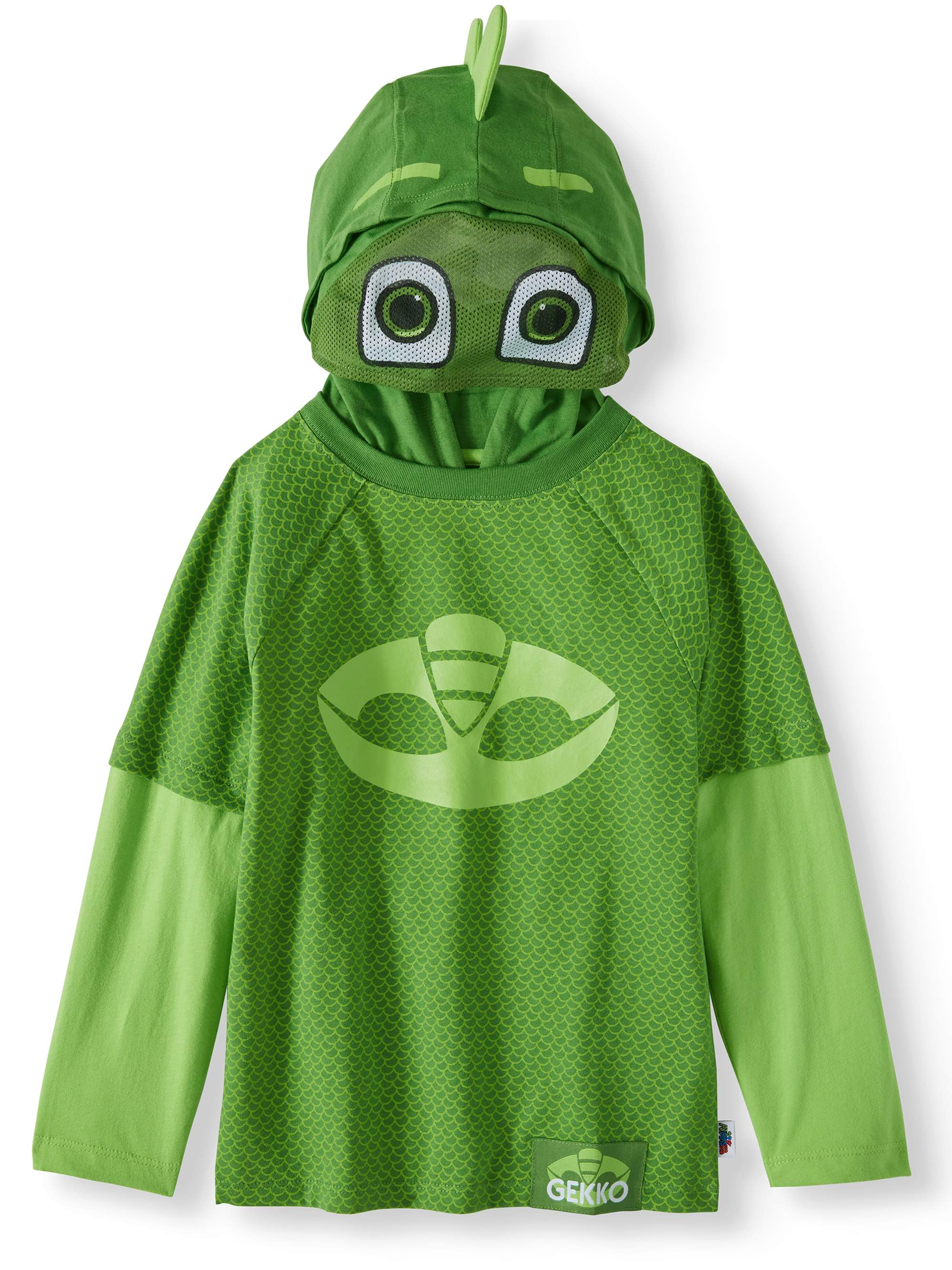 PJ Masks Toddler Boys' Costume Hooded Layered Long Sleeve T-shirt