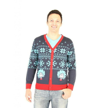 Dr. Seuss Frosty Things 1 & 2 Adult Ugly Christmas Sweater Cardigan
