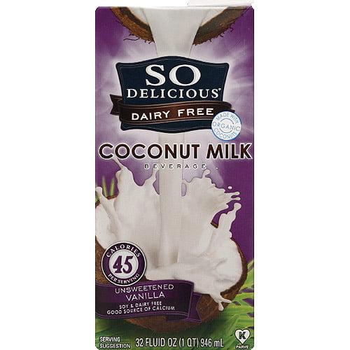So Delicious Dairy Free Coconut Milk Beverage, 32 fl oz, (Pack of 12)