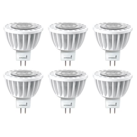 Hyperikon LED Dimmable Light Bulb, 7W (50W Equivalent), 3000K Soft White Glow, 490 Lumens, MR16, GU5.3 Base, CRI 90+ (6-pack)](Glow In The Dark Light Bulb)