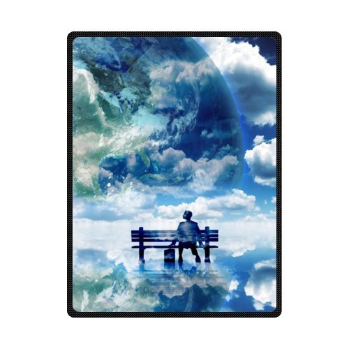 CADecor Fantasy White Clouds And Earth Fleece Blanket Throws 58x80 inches