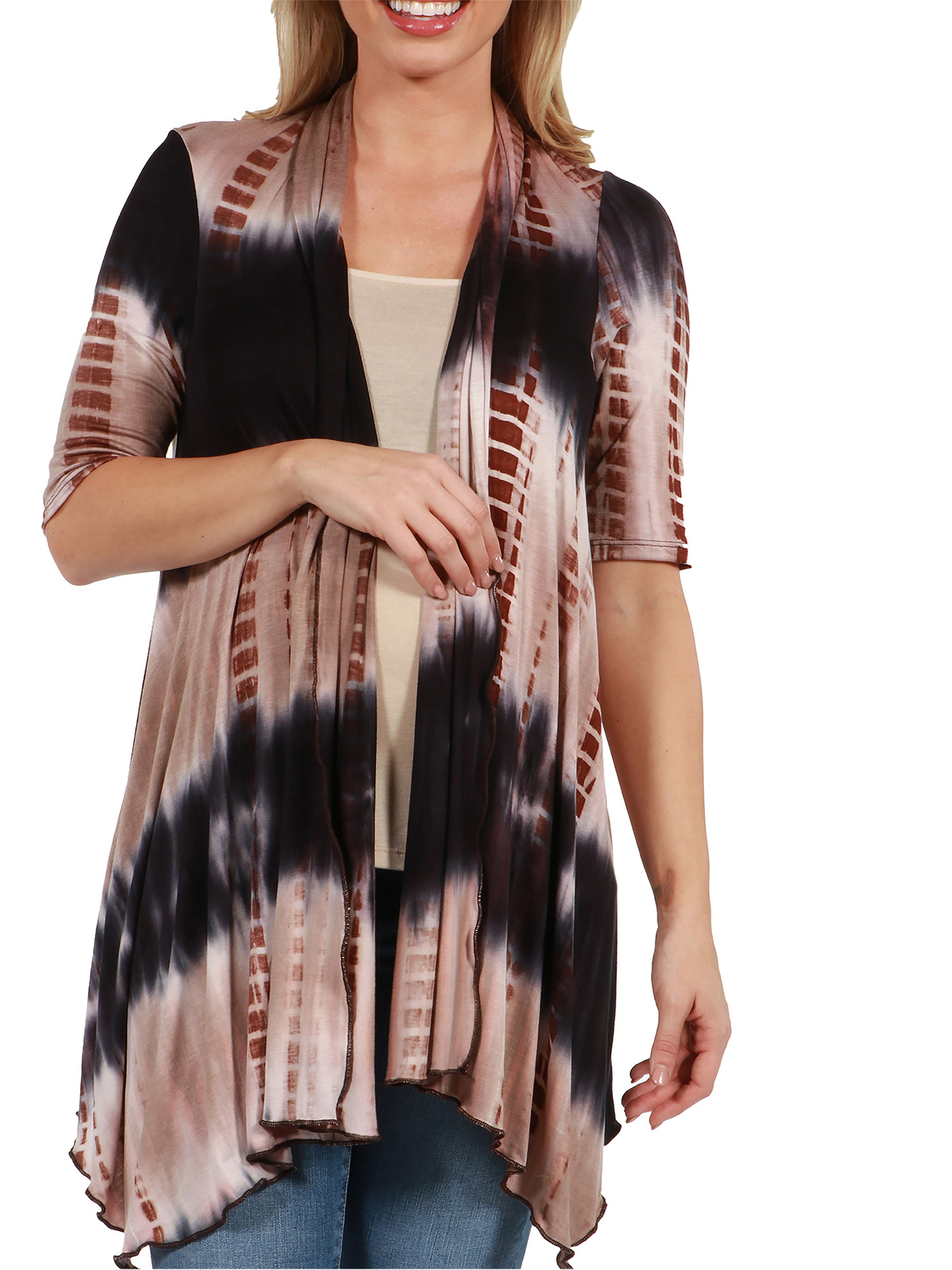 24Seven Comfort Apparel Amy Hi Lo Brown and Navy Maternity Shrug by 24/7 Comfort