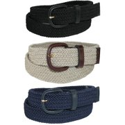 Men's Stretch Belt with Covered Buckle (Big & Tall Available) (Pack of 3)