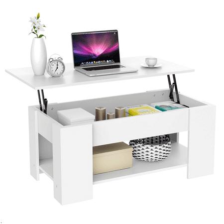 Rectangular Lift Top Coffee Table Modern White ()