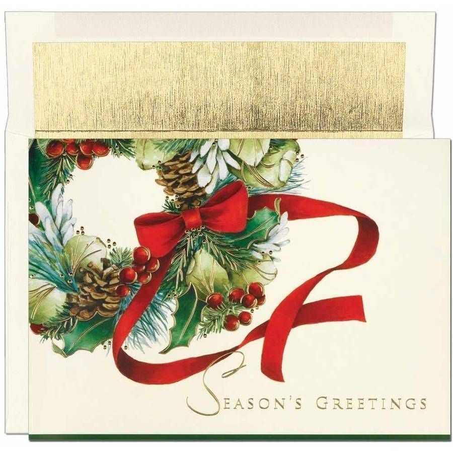 JAM Paper Christmas Card Sets, Ribbon Wreath, 16/pack