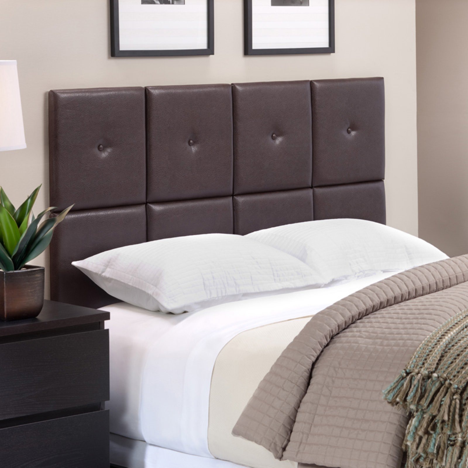 Foremost Tessa Espresso PU Headboard Tiles with Tuft, Full/Queen