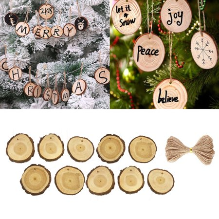 10Pcs Wooden Christmas Tree Hanging Ornament Wood Slices DIY Art Craft Gift Tags