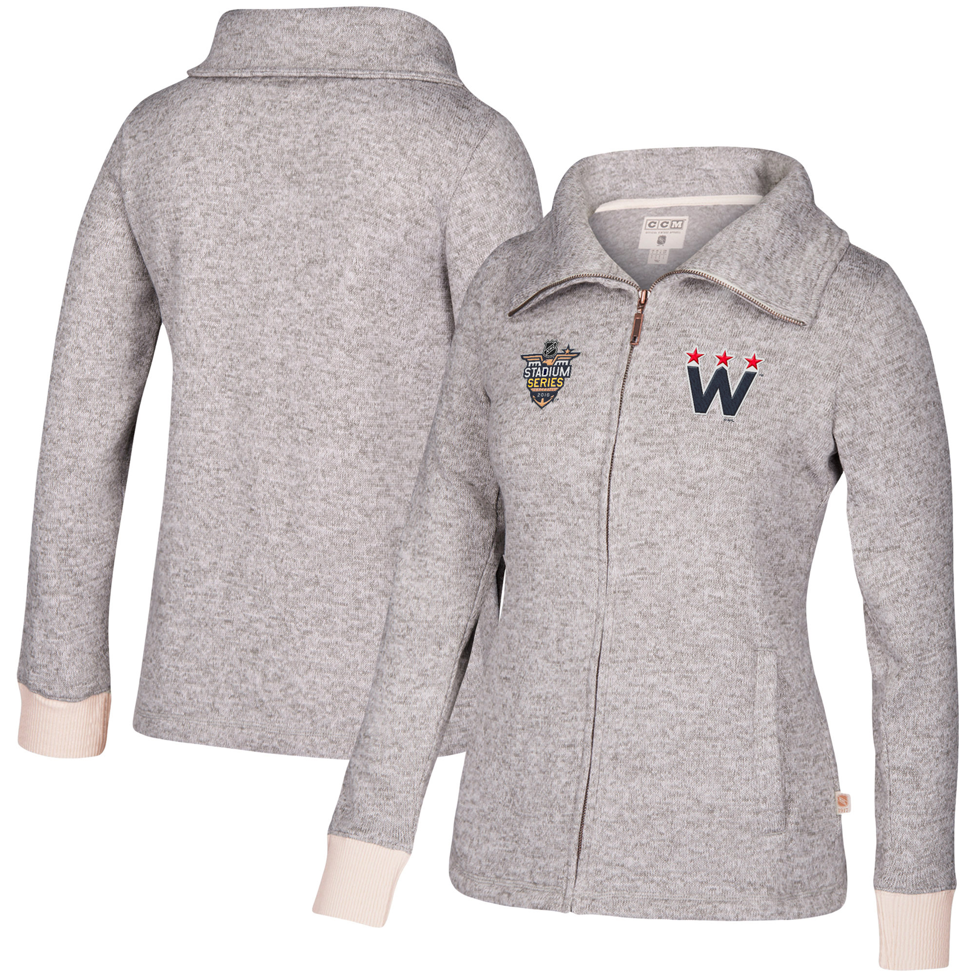 Washington Capitals CCM Women's 2018 NHL Stadium Series Full-Zip Fleece Track Jacket White by REEBOK/SPORTS LICENSED DIVISION