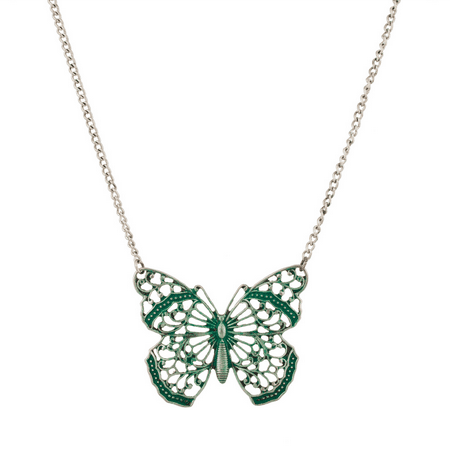 Lux Accessories Elegant Butterfly Wings Green Pendant Necklace