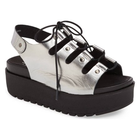 SHELLYS LONDON Kacey Pewter Thick Rocker Platform Lace up Slingback Sandal (37) Pewter Kids Shoes