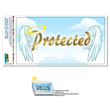Protected with Halo and Angel Wings - Religious Christianity SLAP-STICKZ(TM) Premium Sticker