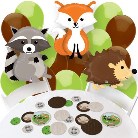 woodland creatures - confetti and balloon party decorations - combo - Party Balloon Kit