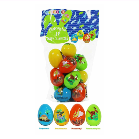 Dinosaur Eggs Prefilled with Spring Hard Candy Mix, Pack of 12
