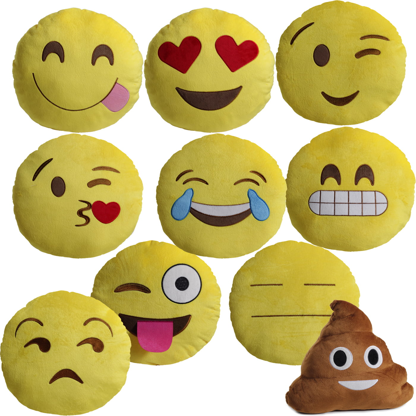 large 13 soft plush emoji throw pillow
