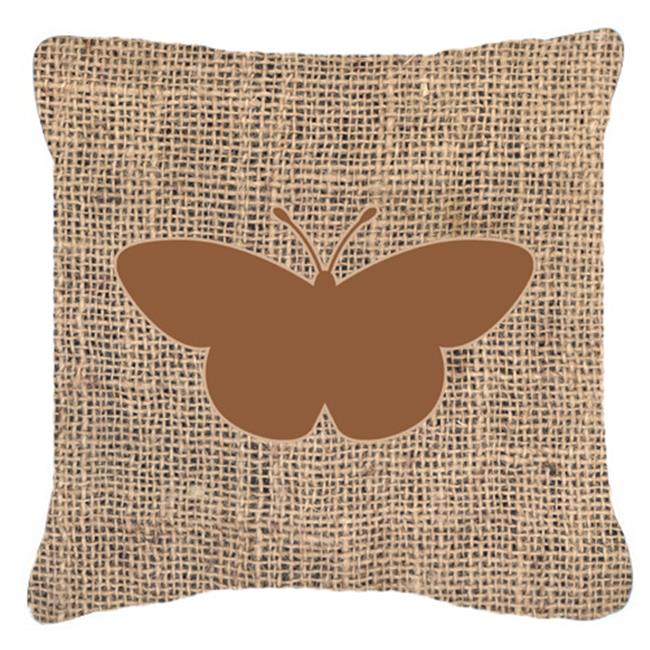 Carolines Treasures BB1044-BL-BN-PW1414 Butterfly Burlap and Brown Decorative Fabric Pillow - 14 x 14 in. - image 1 of 1