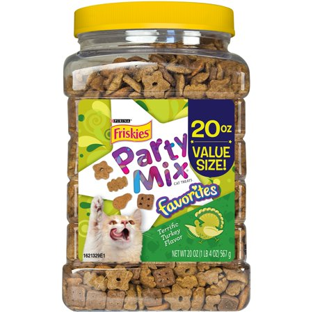 Purina Friskies Party Mix Favorites Terrific Turkey Flavor Cat Treats 20 oz. Canister