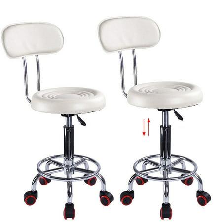 Ktaxon Adjustable Hydraulic Swivel Stool Beauty Spa Salon White Stripe Chair & Backrest - image 4 de 4