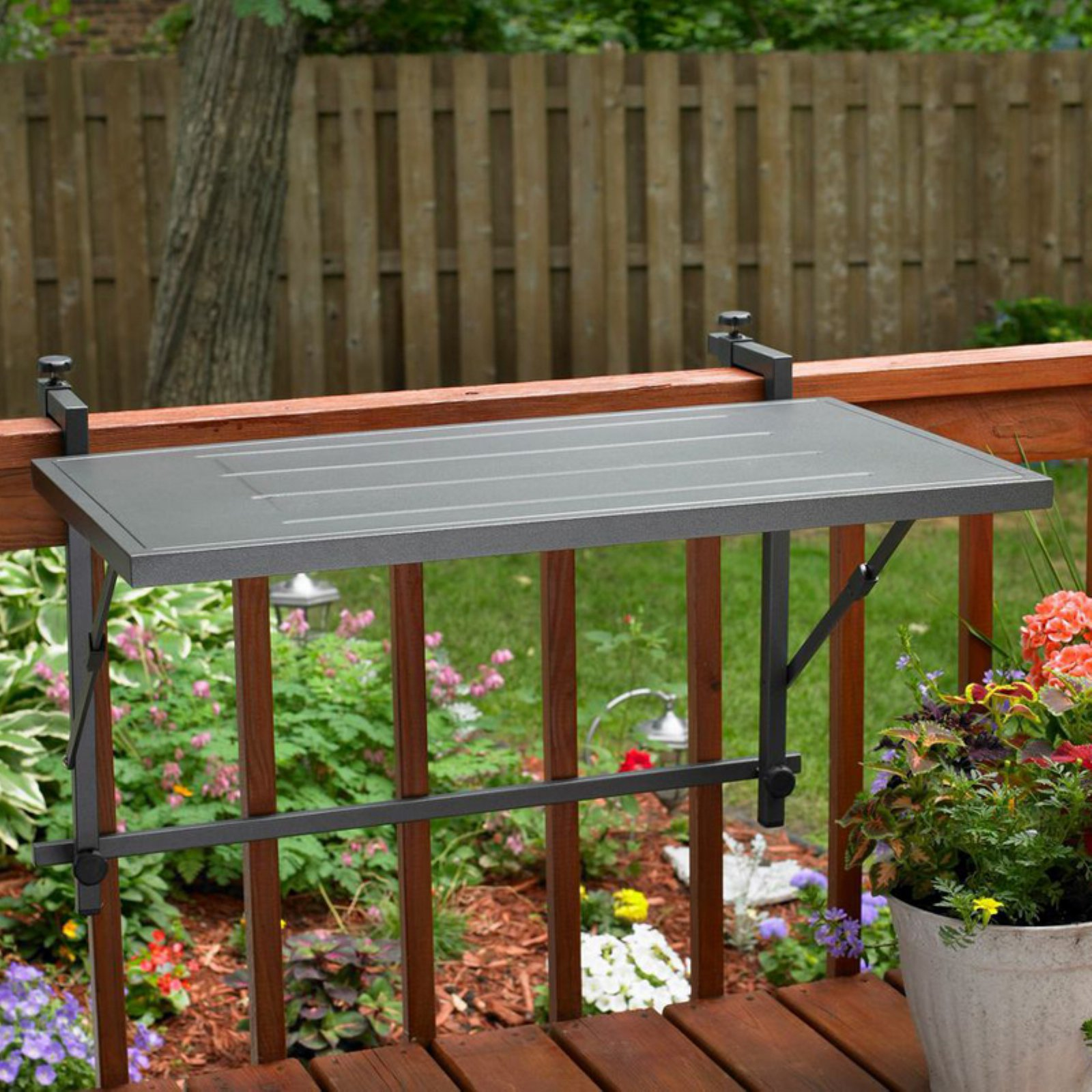 Outdoor GreatRoom Grill Shelf with Deck Rail Mount