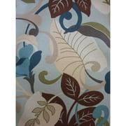 Antigua Ottoman in Royal Oak-Fabric:Blue Leaves