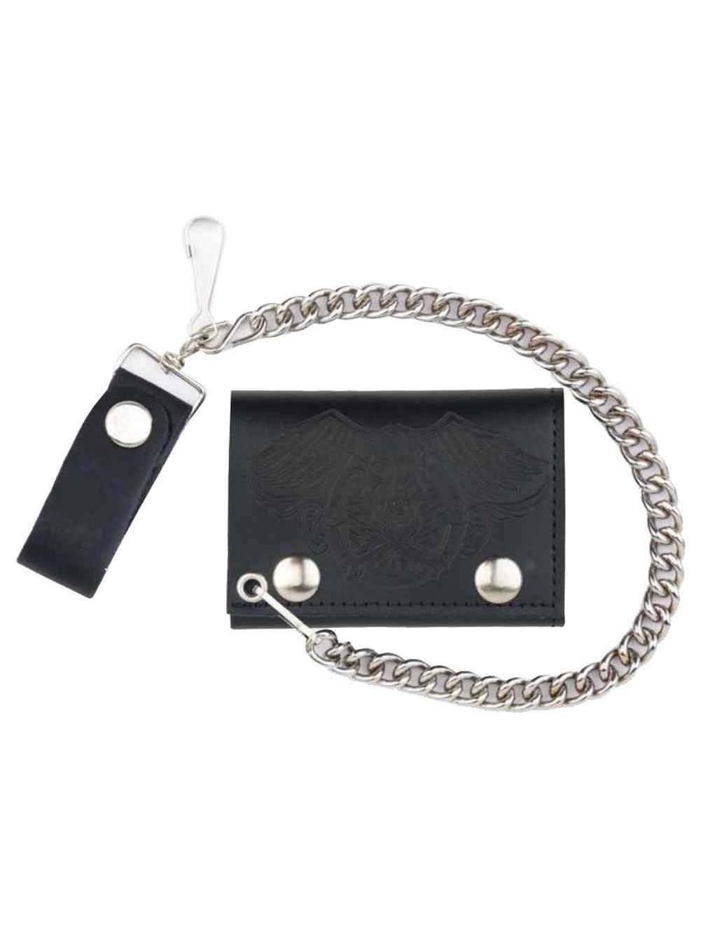 Genuine Leather Men/'s XL Tri-Fold Biker Chain Wallet w// Skull Snaps Black SK325