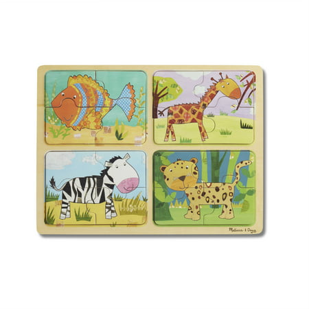Melissa & Doug Natural Play Wooden Puzzle: Animal Patterns (Four 4-Piece Animal Puzzles, Great Gift for Girls and Boys – Best for 2, 3, and 4 Year