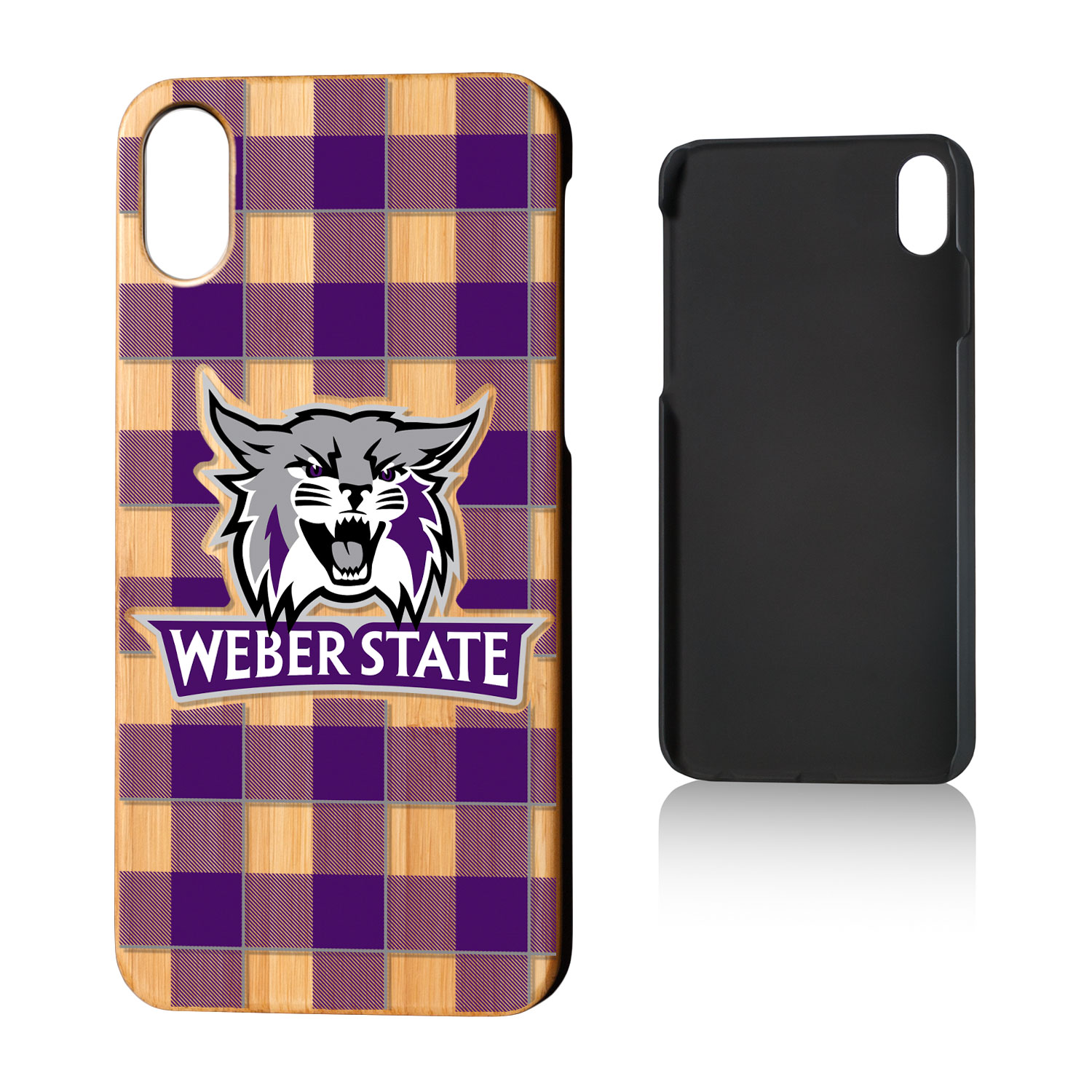 WSU Weber State Wildcats Plaid Bamboo Case for iPhone X