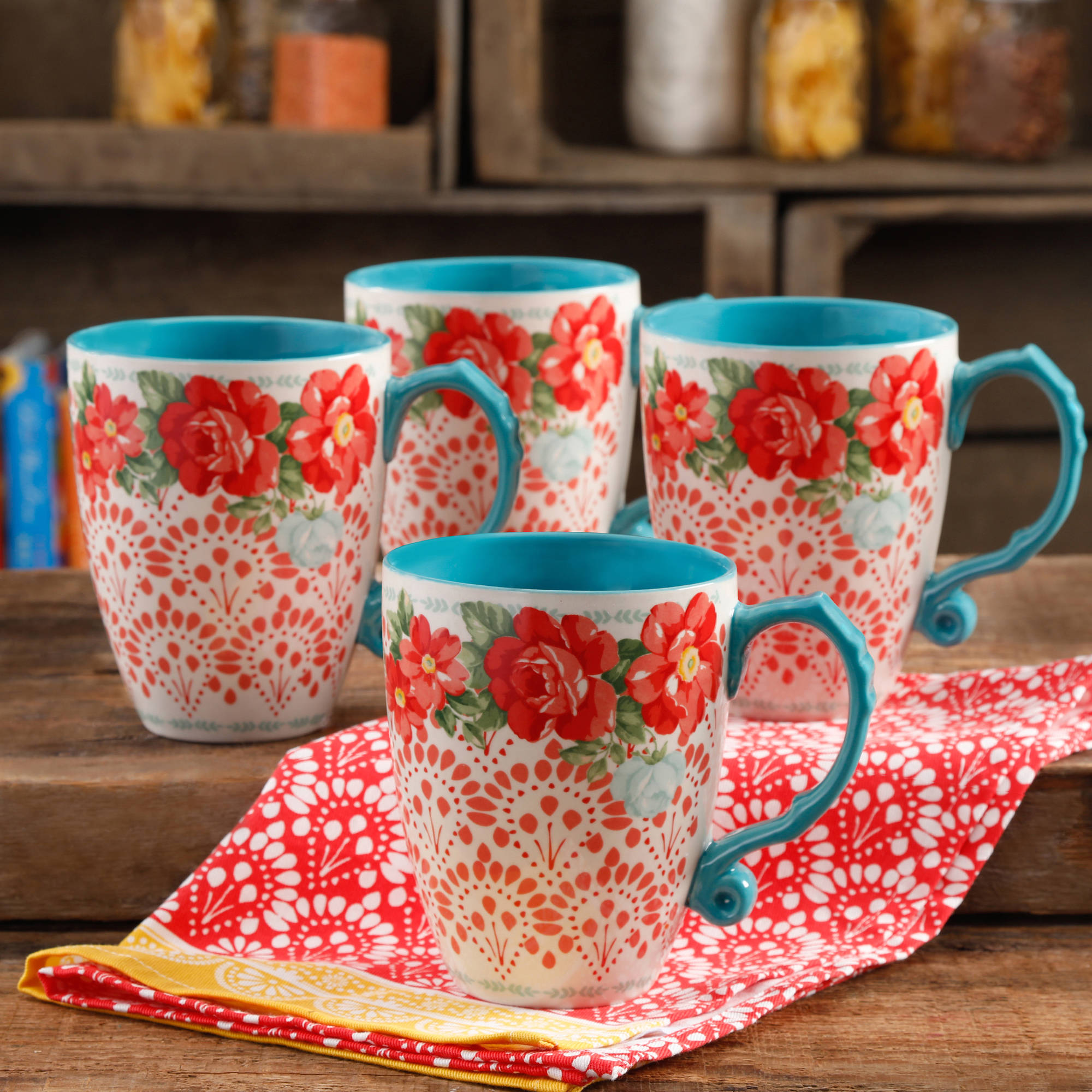 The Pioneer Woman Vintage Floral 4 Piece 26 Ounce Latte Mug Set Walmart Com Walmart Com