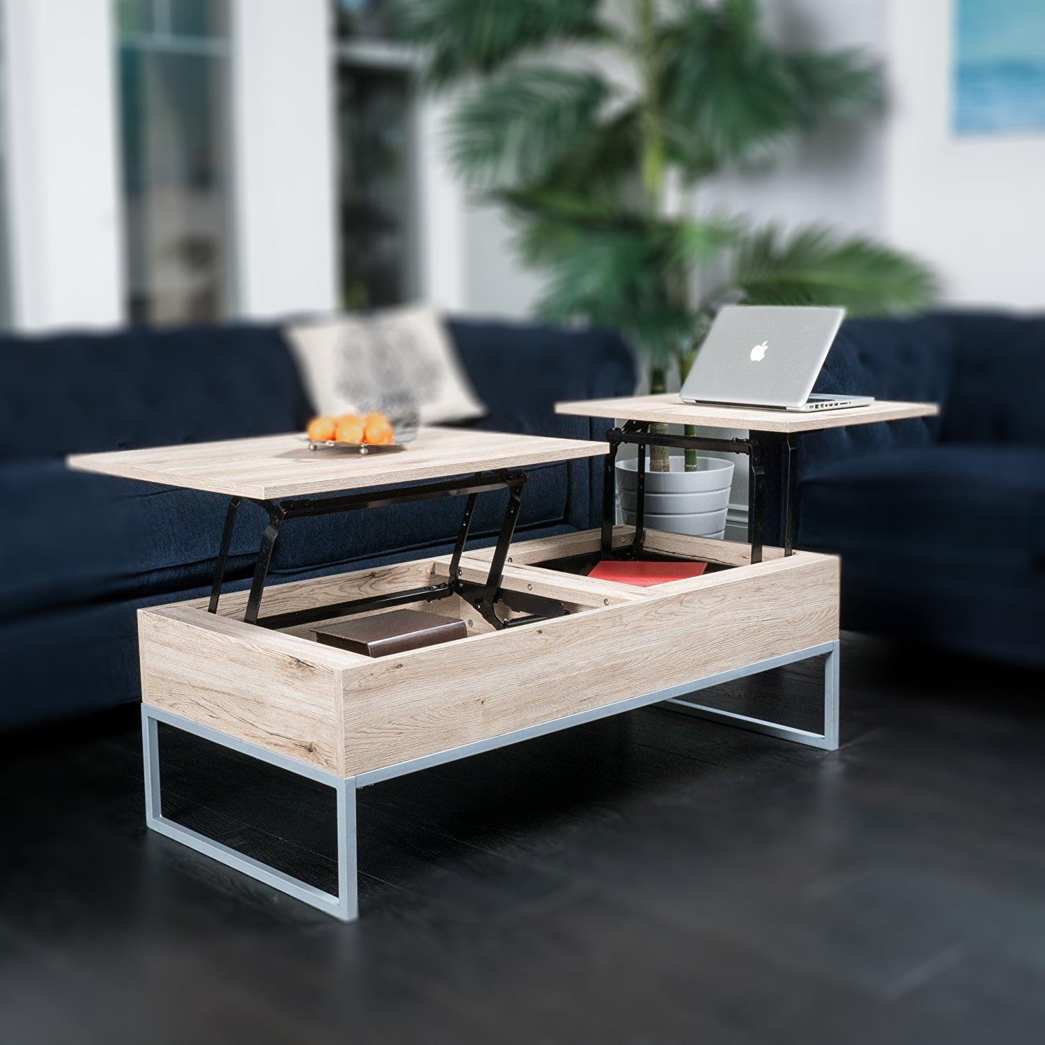 Zimtown Wood Lift Up Top Coffee Table with Hidden Compartment End Rectangle Table Storage Space Living Room Furniture