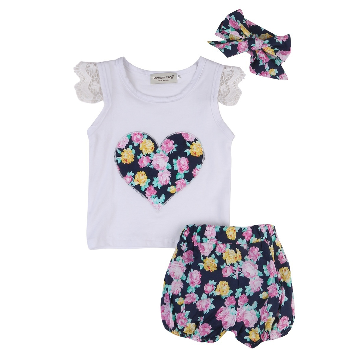 UK Toddler Baby Girl Lace Sleeveless Vest Top Stripe Long Pants Clothes 1-6Y Set