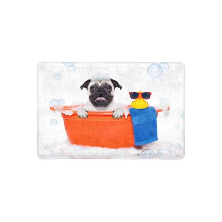 MKHERT Funny Pug Dog in a Bathtub with Yellow Plastic Duck Doormat Rug Home Decor Floor Mat Bath Mat 23.6x15.7 - Yellow Plastic Ducks