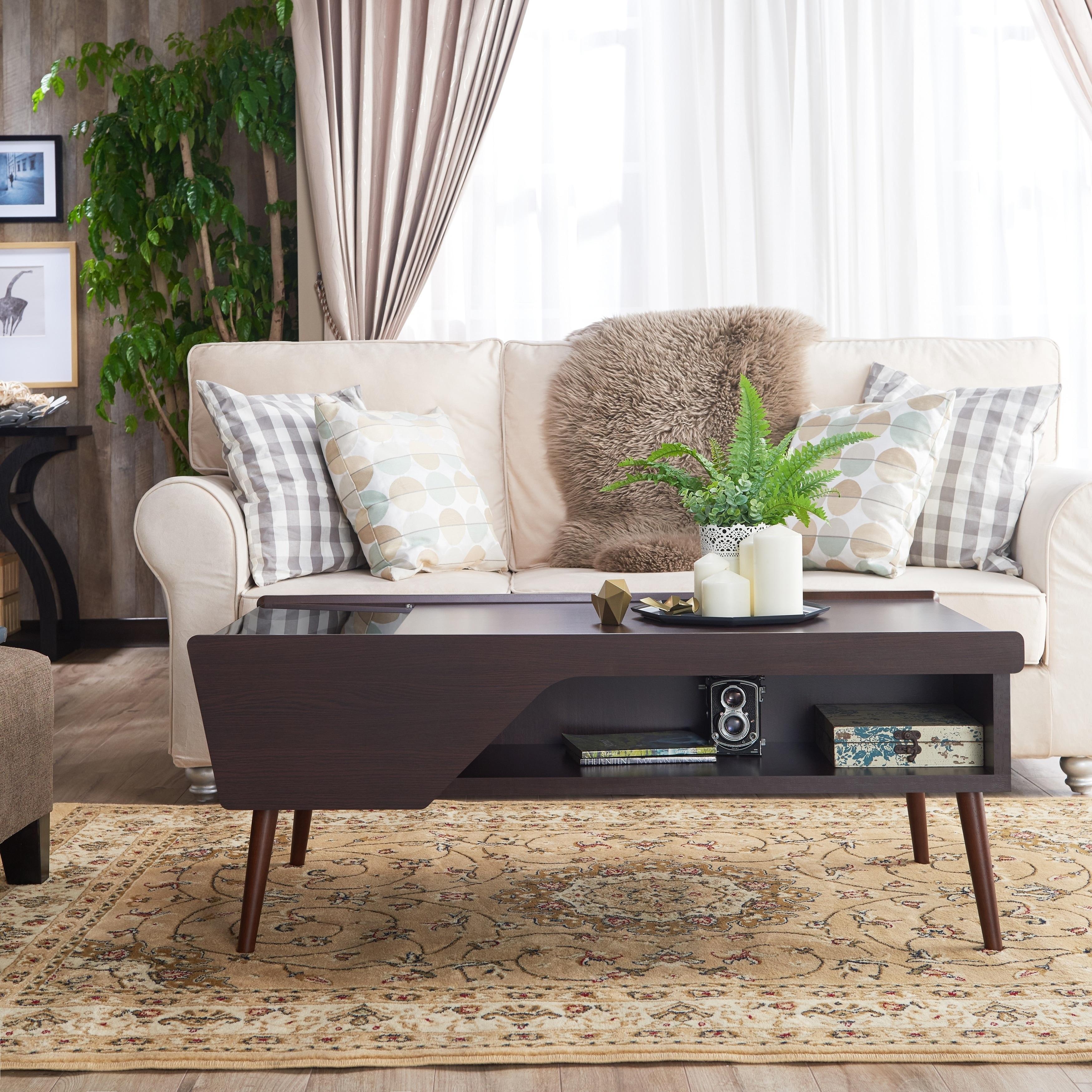 Furniture Of America Kald Modern Espresso Glass Storage Coffee Table Walmart Com Walmart Com