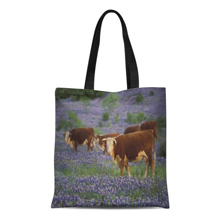 Midwest Tote - SIDONKU Canvas Tote Bag Graze Usa Texas Hill Country Bluebonnet Field Wildlife Midwest Reusable Handbag Shoulder Grocery Shopping Bags