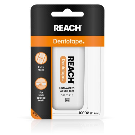 - (4 Pack) Reach Dentotape Extra Wide Waxed Dental Floss, Unflavored, 100 Yards