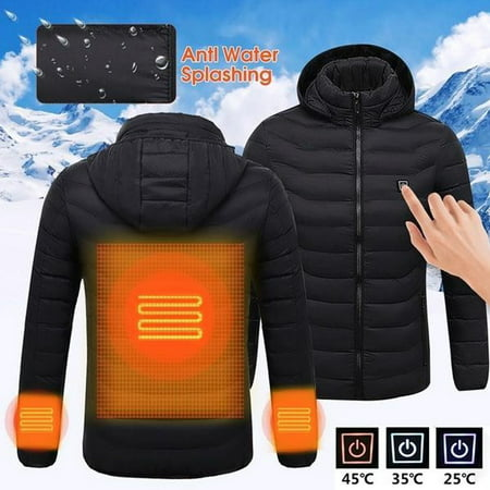 Women's USB Charging Electric Heated Coat Soft Lightweight Hooded Jacket Thermal for Outdoor Hiking Riding Camping(Black,XL) Ladies Thermal Shell Jacket