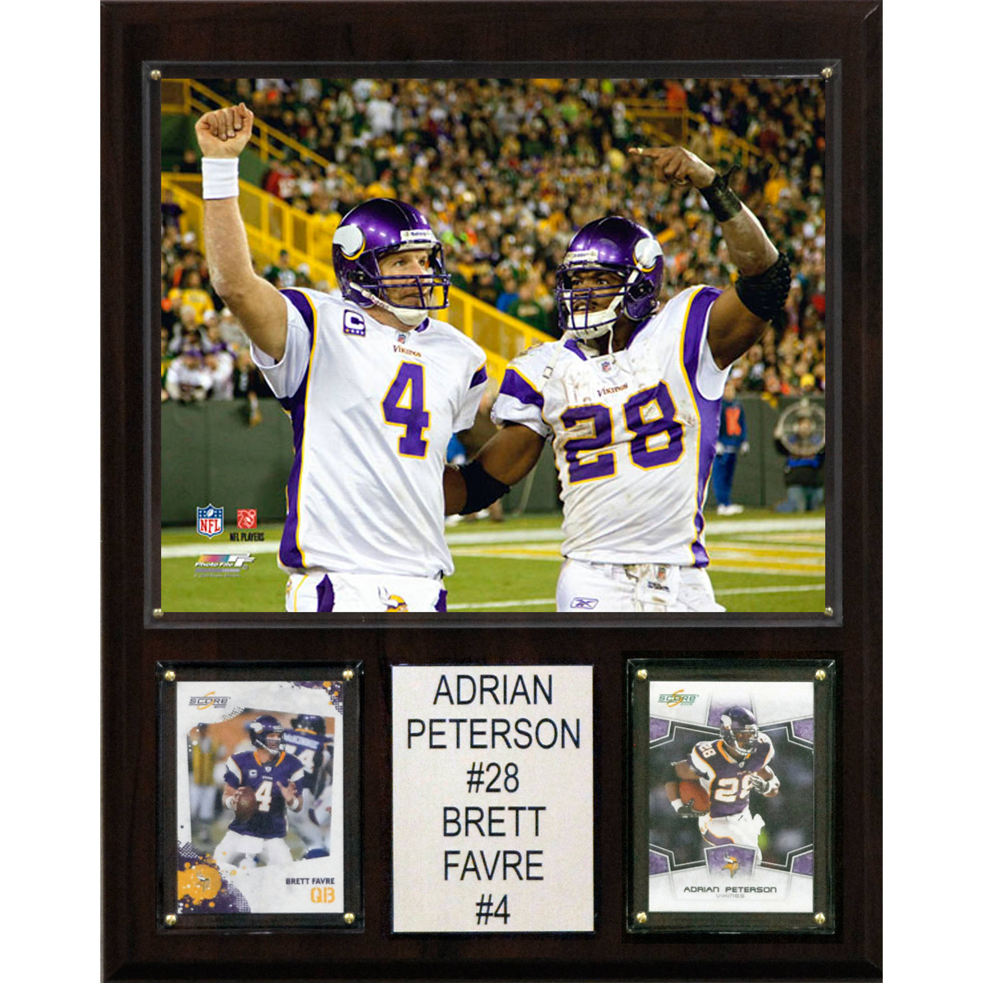 C&I Collectables NFL 12x15 Adrian Peterson-Brett Favre Minnesota Vikings Player Plaque