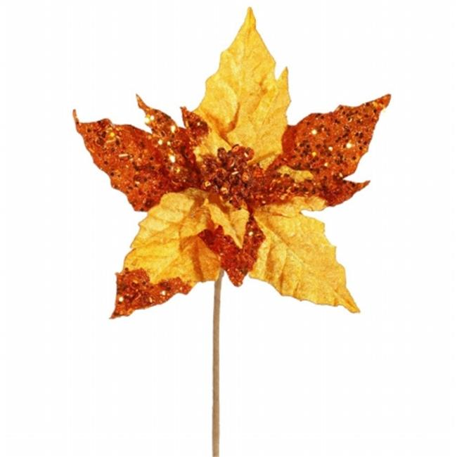 10 in. Copper Velvet Mica Poinsettia Pick