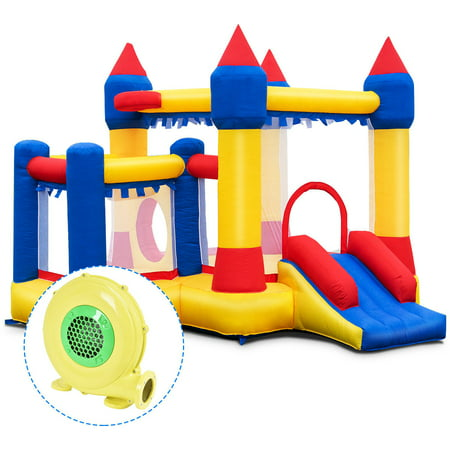 Costway Inflatable Bounce House Castle Kids Jumper Slide Moonwalk Bouncer w/ 480W Blower for $<!---->