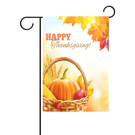 POPCreation Fall Maple Leaf Pumpkin Thanksgiving Garden Flag Outdoor Flag Home Party 28x40 inches - Thanksgiving Outdoor Decor