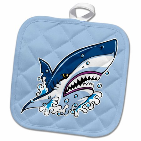 3dRose Angry Shark Tattoo Design on Blue Background - Pot Holder, 8 by 8-inch for $<!---->