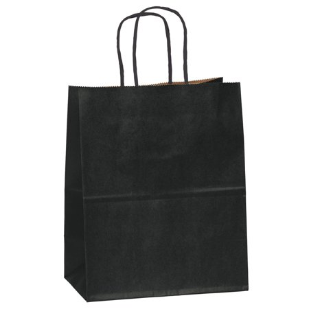 12 CT Medium Black Kraft Bags, Kraft Gift Bag(STURDY & THICKER), Kraft Bag With Colored Sturdy Handle - Brown Paper Bags With Handles