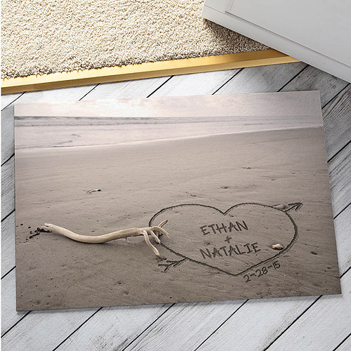"Personalized Names In The Sand Doormat, 18"" x 27"""