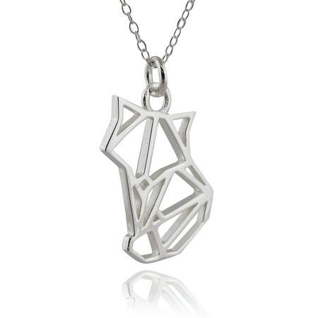 Sterling Silver Origami (Sterling Silver Origami Fox Necklace, 18