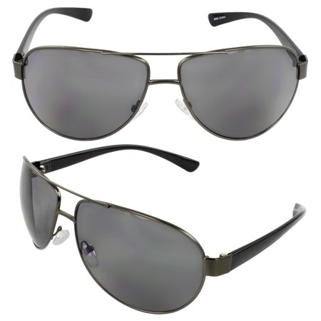 Pilot Fashion Aviator Sunglasses Black Frame Smoke Lenses for Men and Women ()