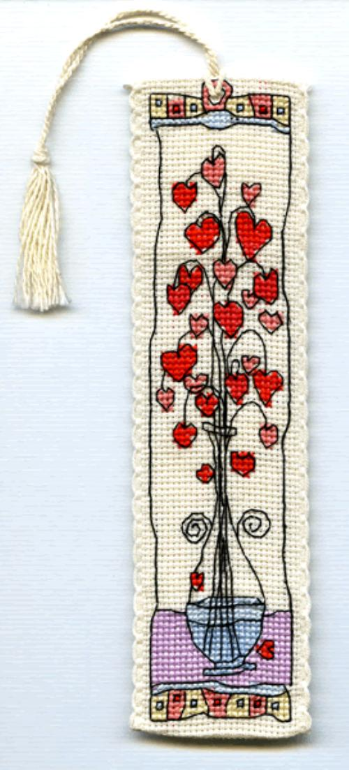 Michael Powell Counted Cross Stitch Bookmark Kit Hearts in Glass Vase by Michael Powell