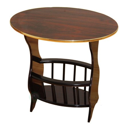 Oval Side Table with Magazine Holder, Espresso Brown Finish, Espresso Brown ()